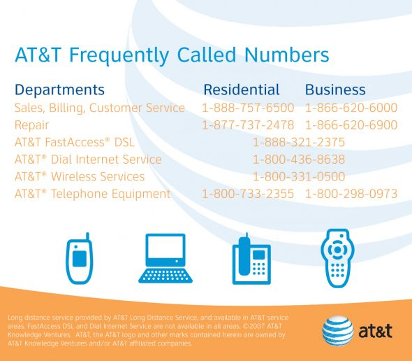 AT&T Frequently Called Numbers Card