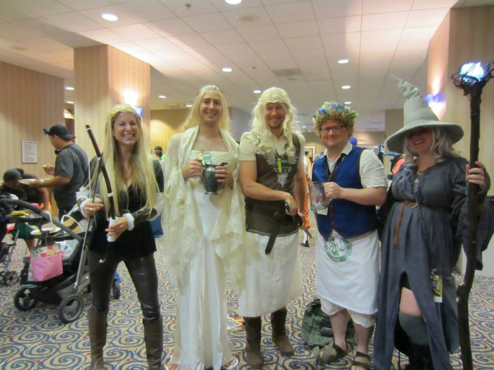 The Saturday crew: femme Legolas, butch Galadriel, Eowyn, and Rosie, and femme Gandalf.